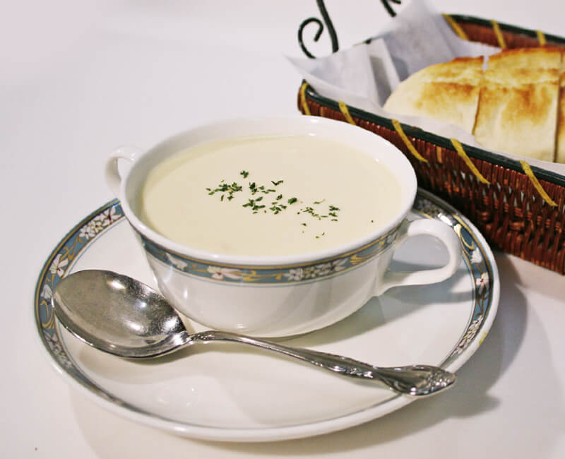 Cream chicken soup with Bread Image
