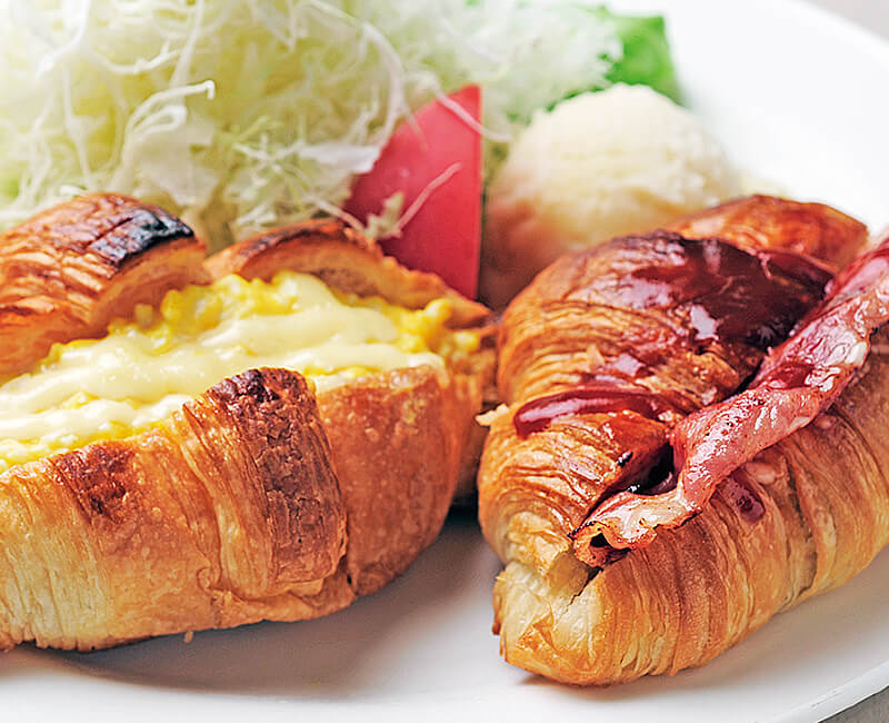 Croissant sandwiches set with Salad Image